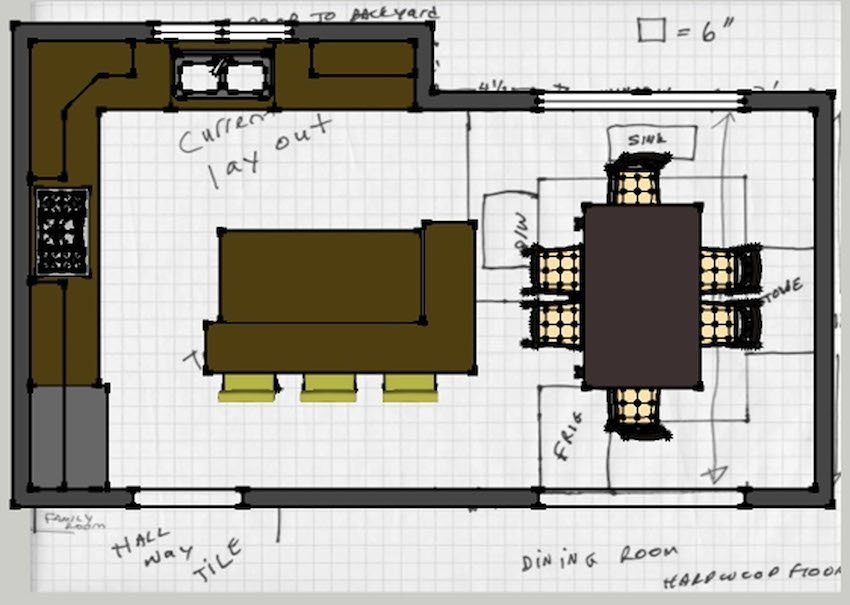 план проекта кухни