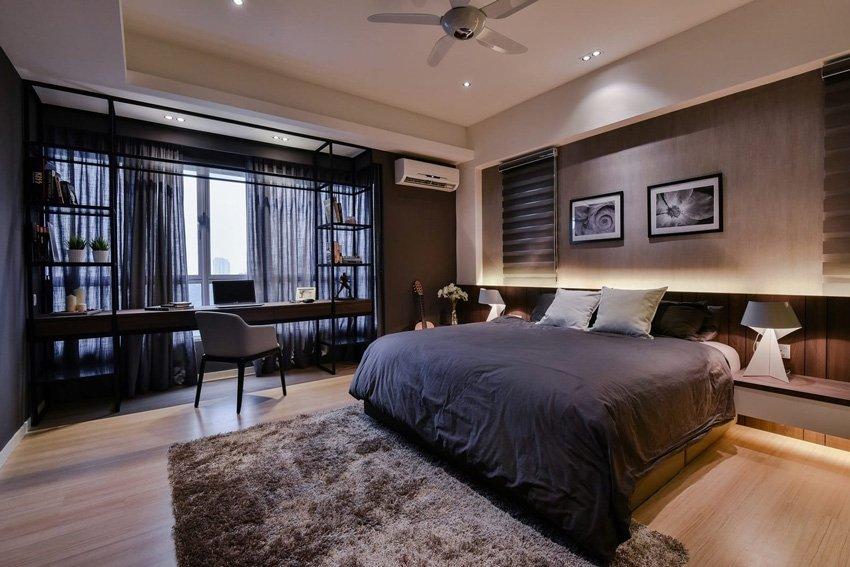 темный интерьер спальной комнаты