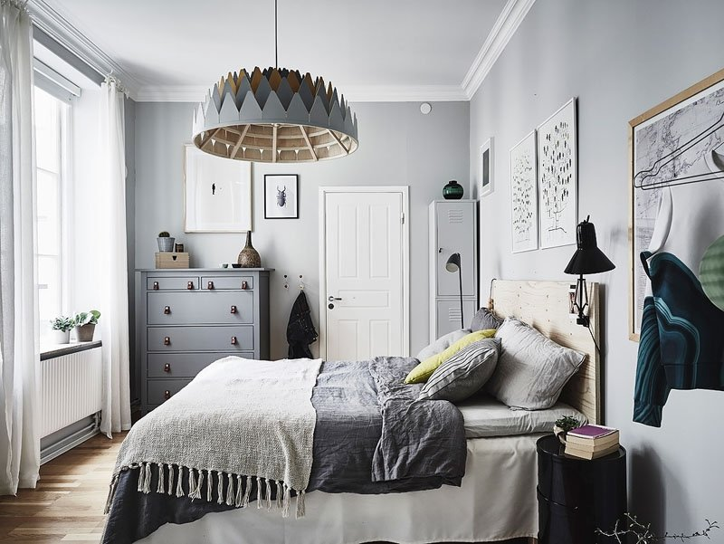серая спальня в скандинавском стиле