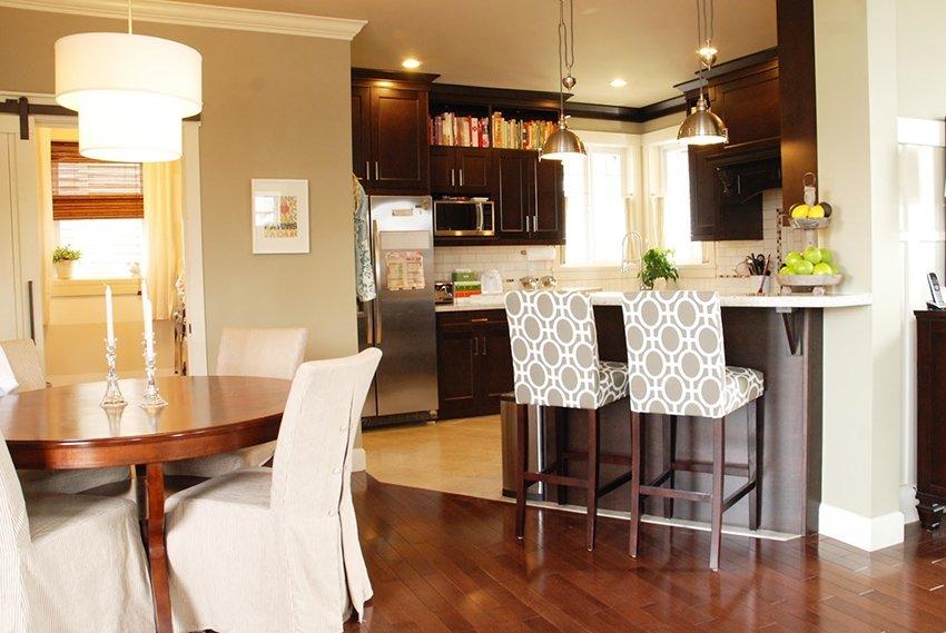 кухня в частном доме с барной стойкой