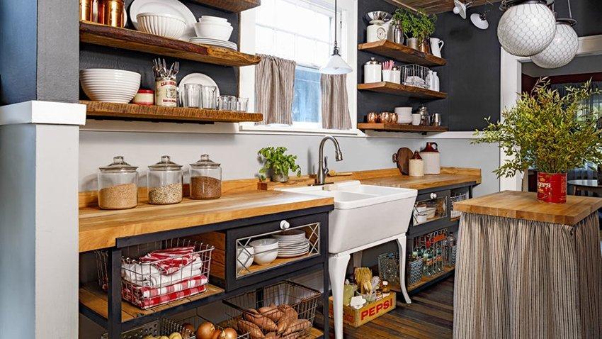 полки на кухне хранение
