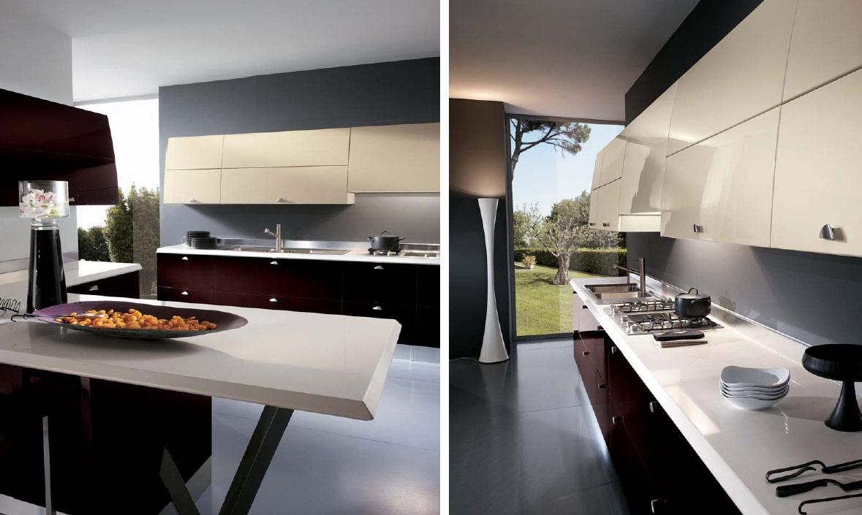 Дизайн кухни в стиле хай-тек с барной стойкой