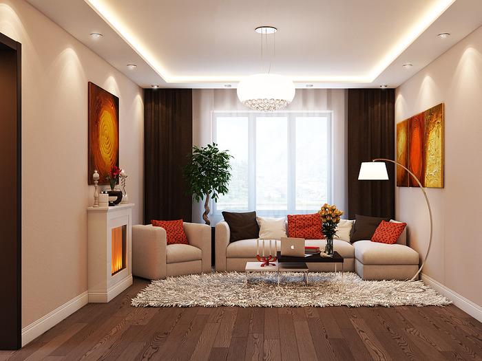 Дизайн гостиной в тёплых тонах