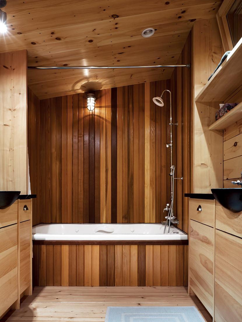 вагонка дерево в ванной