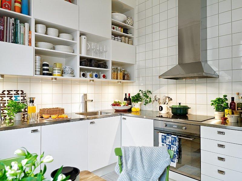 скандинавский стиль кухня плитка белая