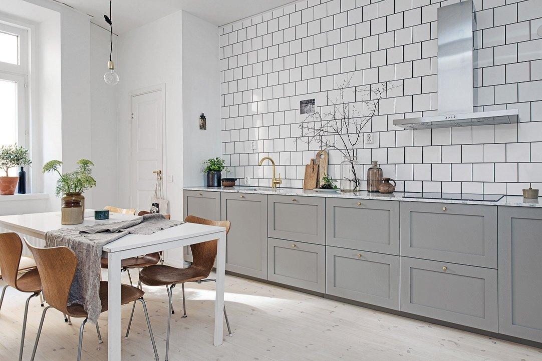 скандинавский стиль кухня белая плитка