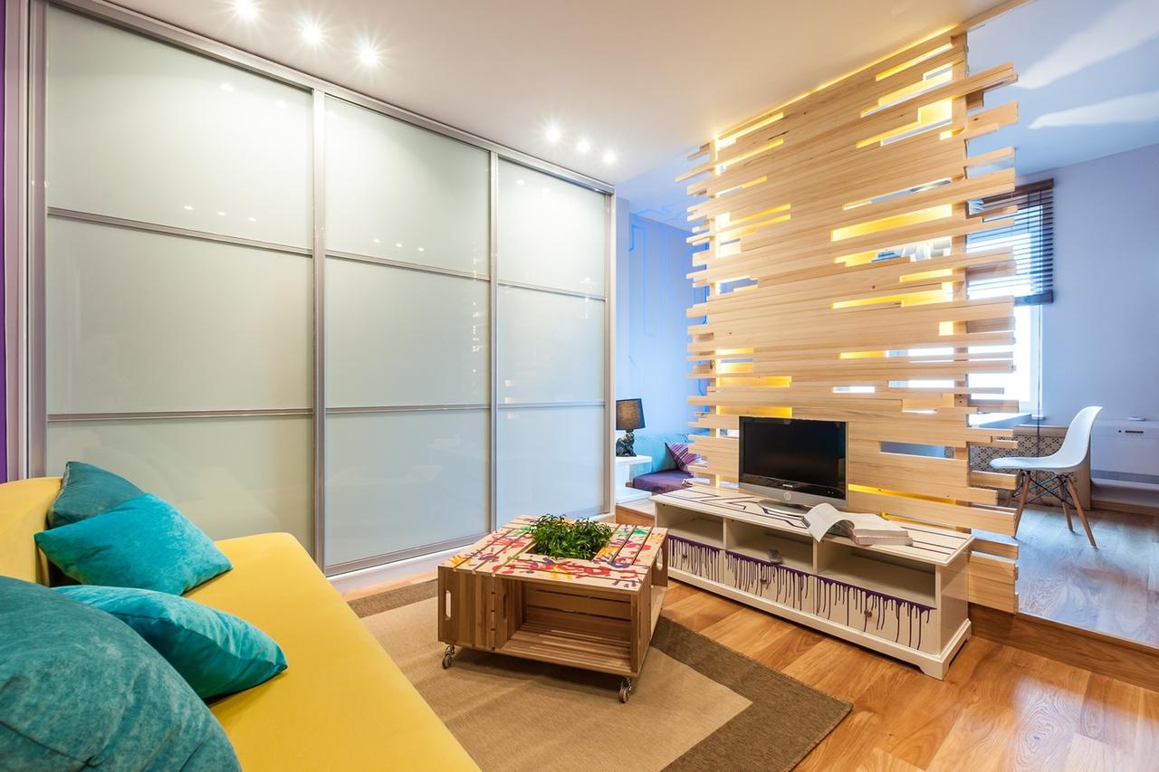 Особенности и сложности дизайна однокомнатных квартир, гостиная