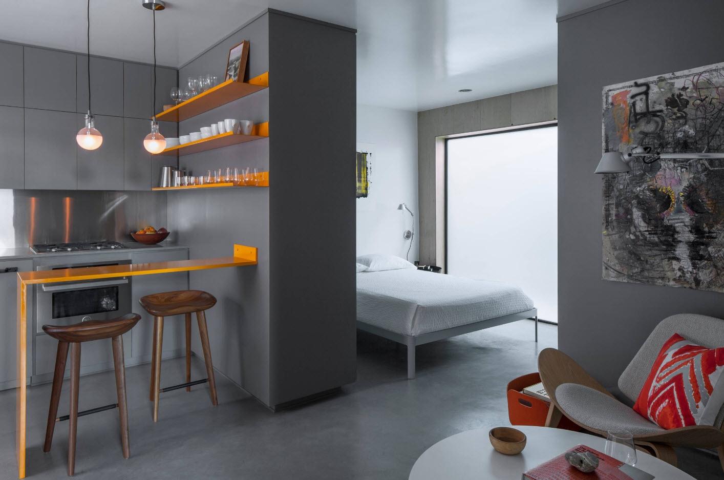 Особенности и сложности дизайна однокомнатных квартир, кухня