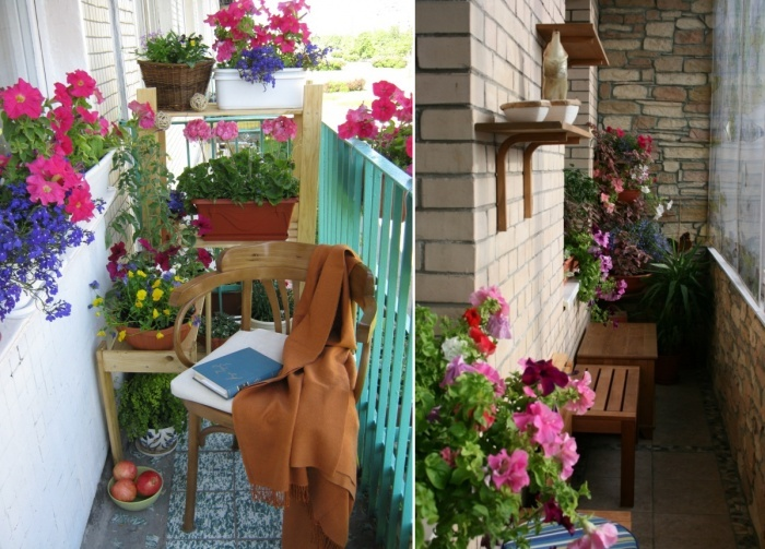 Интерьер маленького балкона.
