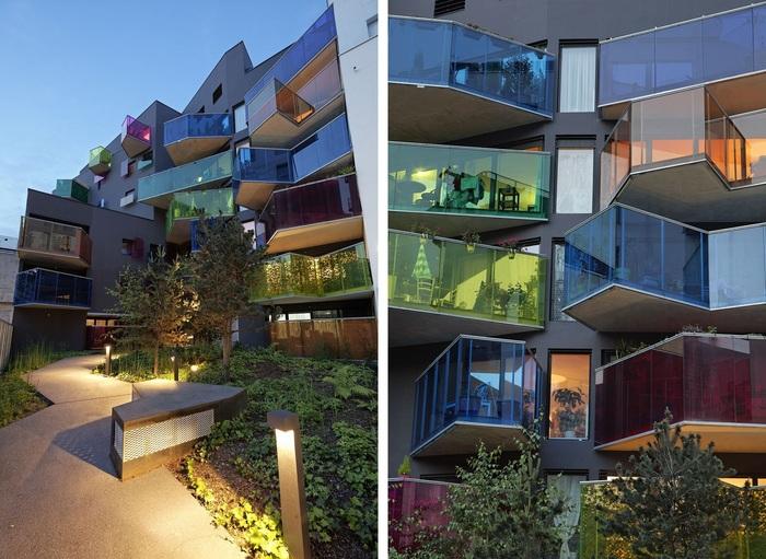 Дом-калейдоскоп с разноцветными балконами екабу.ру - развлек.