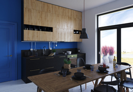 Blue kitchen. Визуализация.